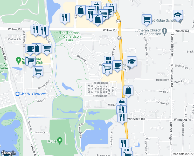 map of restaurants, bars, coffee shops, grocery stores, and more near 1839 Westleigh Drive in Glenview