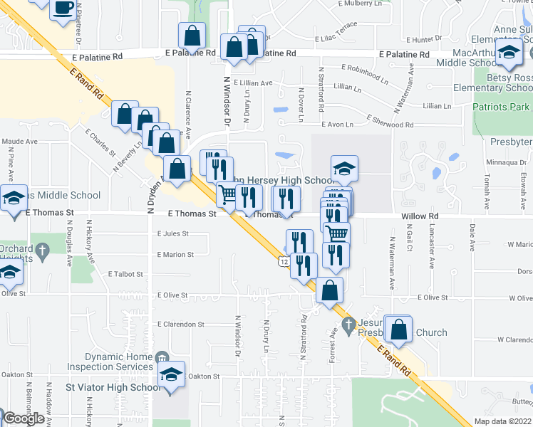 map of restaurants, bars, coffee shops, grocery stores, and more near 1700 East Rand Road in Arlington Heights