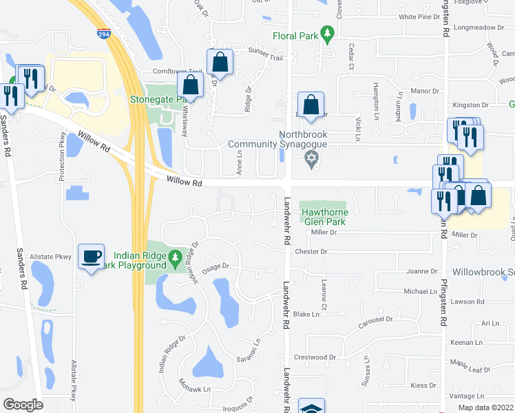 map of restaurants, bars, coffee shops, grocery stores, and more near 2807 Wildflower Court in Glenview