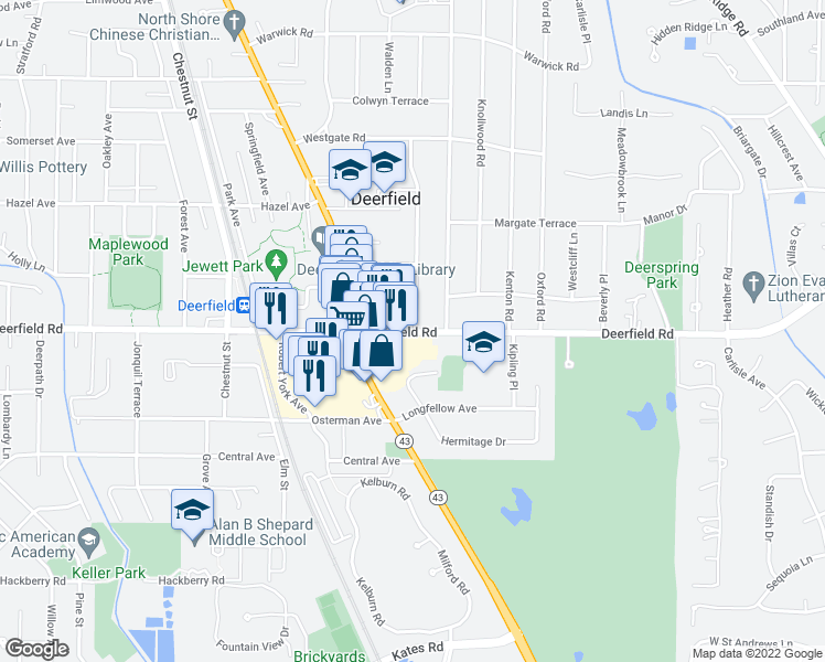 map of restaurants, bars, coffee shops, grocery stores, and more near 821 Rosemary Terrace in Deerfield