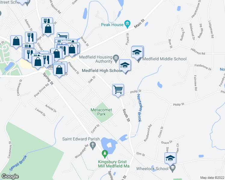 map of restaurants, bars, coffee shops, grocery stores, and more near 2-10 Metacomet St in Medfield
