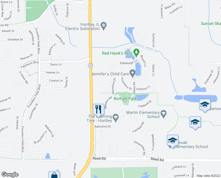 map of restaurants, bars, coffee shops, grocery stores, and more near 9573 Rainsford Drive in Huntley