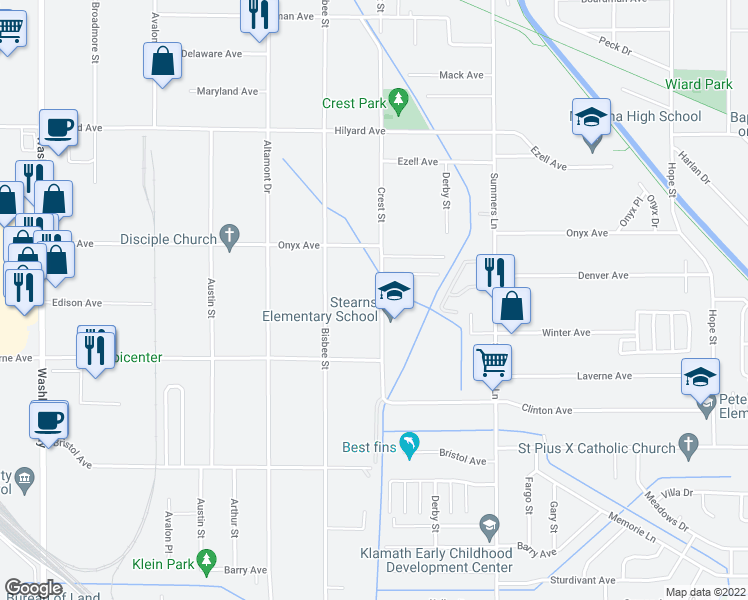 map of restaurants, bars, coffee shops, grocery stores, and more near 3528 Crest Street in Klamath Falls