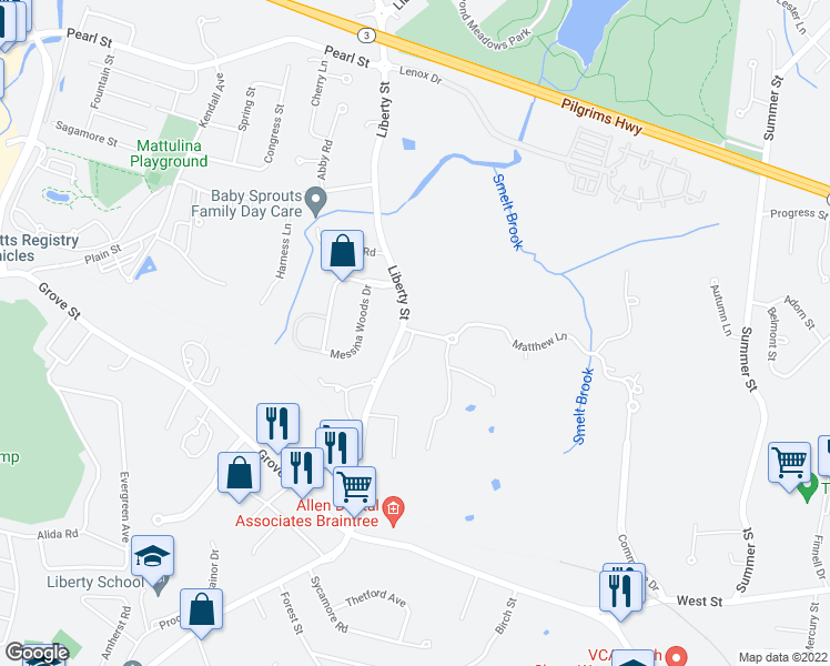 map of restaurants, bars, coffee shops, grocery stores, and more near Matthew Cir in Braintree