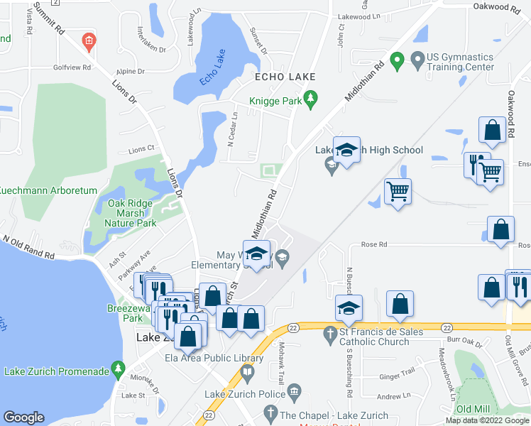 map of restaurants, bars, coffee shops, grocery stores, and more near 359 Midlothian Road in Lake Zurich