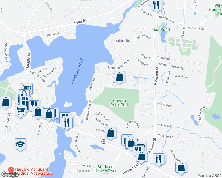 map of restaurants, bars, coffee shops, grocery stores, and more near 60 Cross St in Weymouth