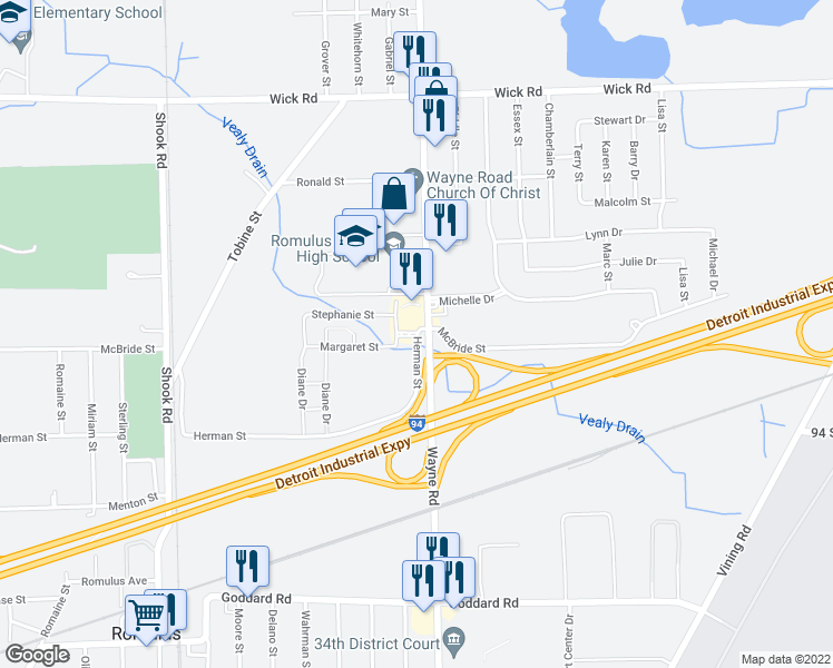 map of restaurants, bars, coffee shops, grocery stores, and more near 9960 Herman St in Romulus
