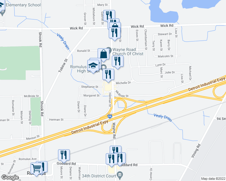 map of restaurants, bars, coffee shops, grocery stores, and more near Wayne Rd & Herman St in Romulus
