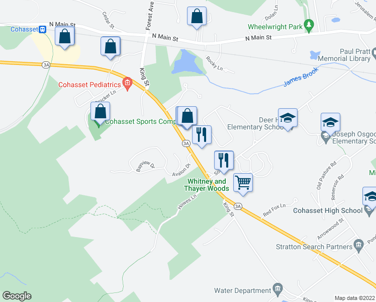 map of restaurants, bars, coffee shops, grocery stores, and more near 297-333 Chief Justice Cushing Highway in Cohasset