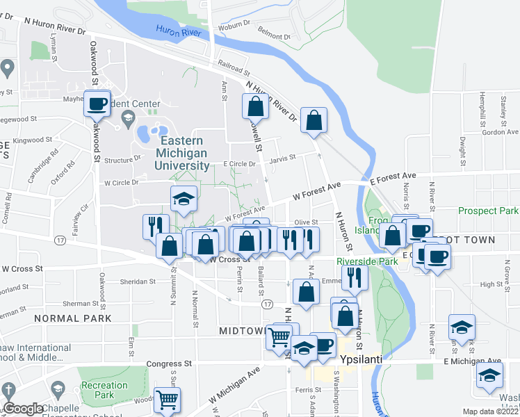 map of restaurants, bars, coffee shops, grocery stores, and more near W Forest Ave & Ballard St in Ypsilanti