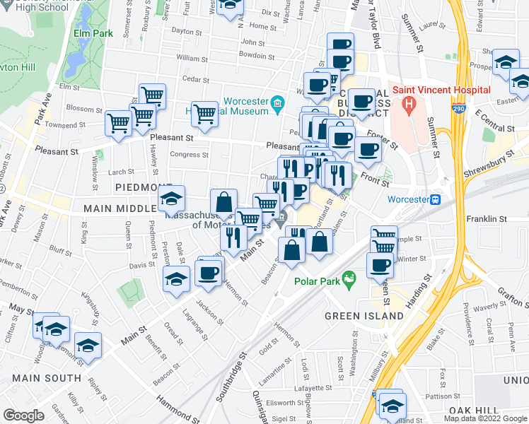 map of restaurants, bars, coffee shops, grocery stores, and more near 21 Austin Street in Worcester