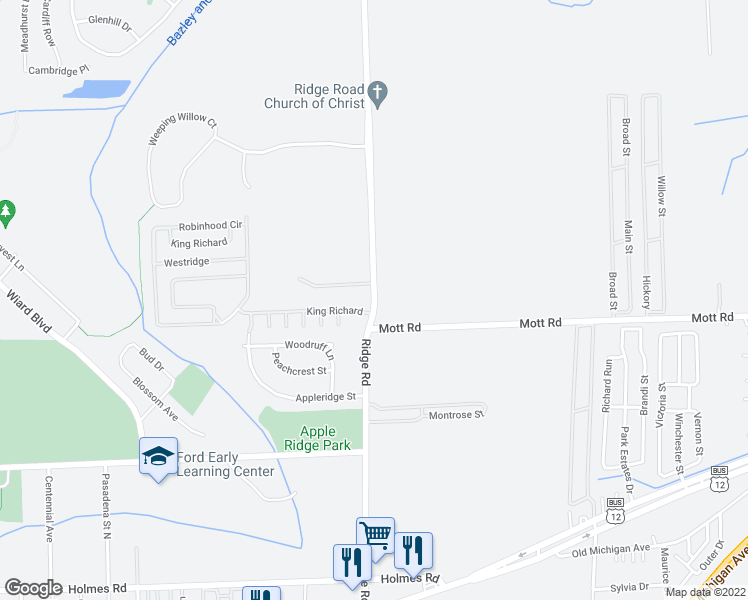map of restaurants, bars, coffee shops, grocery stores, and more near 1515 Ridge Rd in Ypsilanti