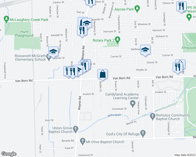 map of restaurants, bars, coffee shops, grocery stores, and more near 35345 Phyllis Street in Wayne