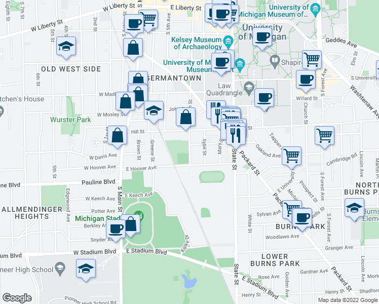 map of restaurants, bars, coffee shops, grocery stores, and more near 915 S Division St in Ann Arbor