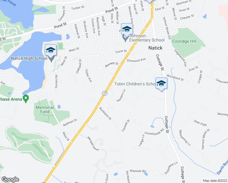 map of restaurants, bars, coffee shops, grocery stores, and more near 1 Hunters Lane in Natick