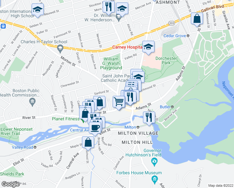 map of restaurants, bars, coffee shops, grocery stores, and more near Washington St & Richmond St in Boston