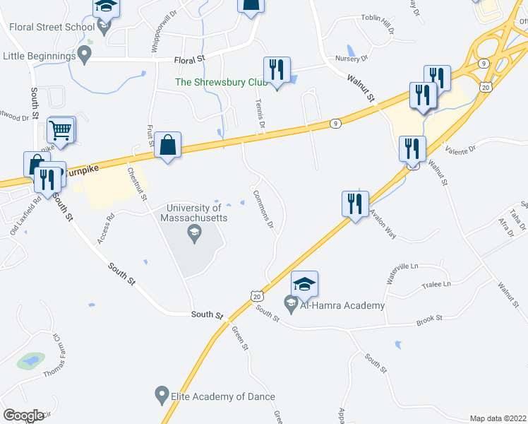 map of restaurants, bars, coffee shops, grocery stores, and more near Commons Drive in Shrewsbury