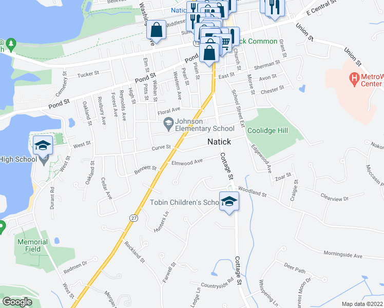 map of restaurants, bars, coffee shops, grocery stores, and more near 24 Circular Avenue in Natick