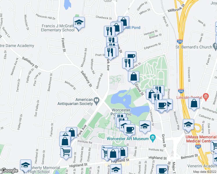 map of restaurants, bars, coffee shops, grocery stores, and more near Rumford Avenue in Worcester