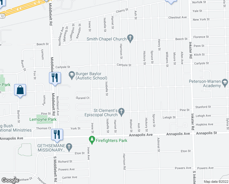 map of restaurants, bars, coffee shops, grocery stores, and more near 3956 Harriet Street in Inkster