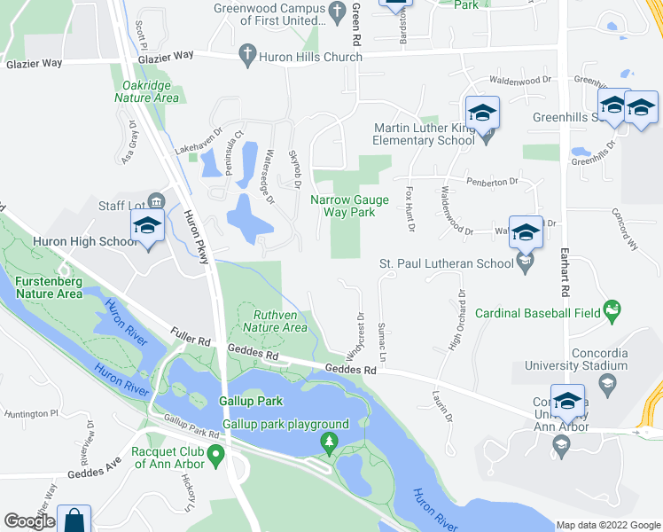 map of restaurants, bars, coffee shops, grocery stores, and more near 395 Windycrest Drive in Ann Arbor