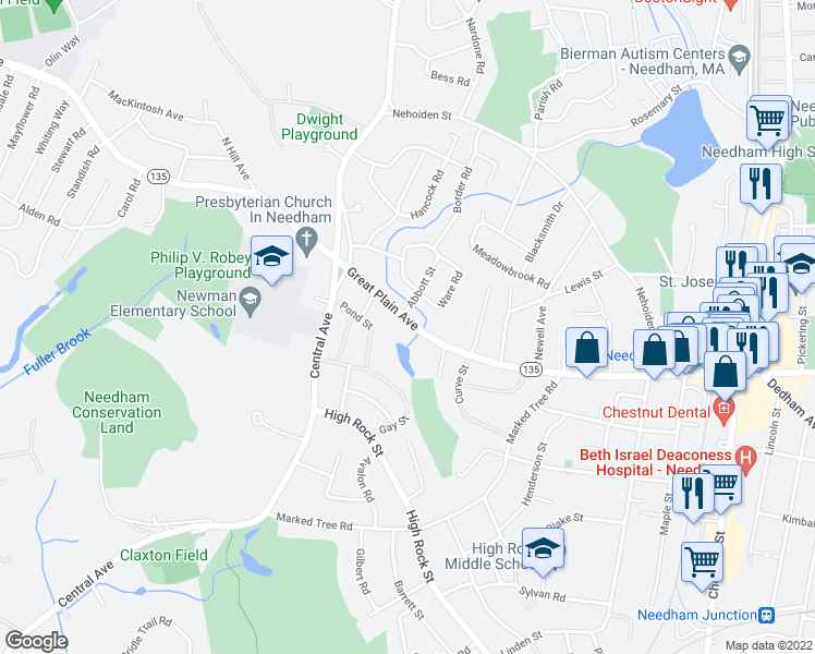 map of restaurants, bars, coffee shops, grocery stores, and more near 1362 Great Plain Avenue in Needham