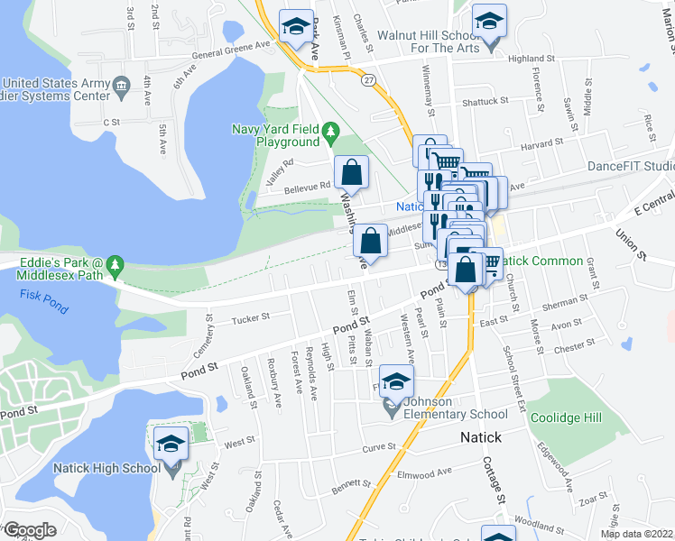 map of restaurants, bars, coffee shops, grocery stores, and more near 2 Temple Street in Natick