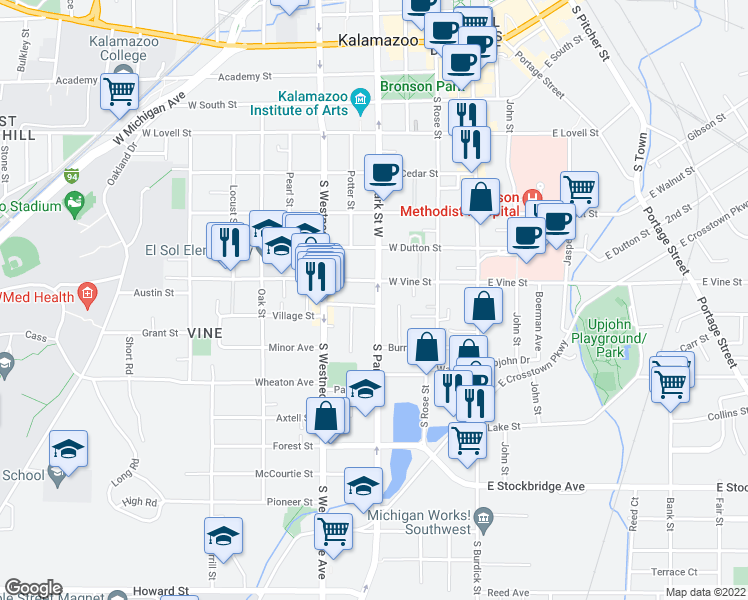 map of restaurants, bars, coffee shops, grocery stores, and more near 818 South Park Street in Kalamazoo