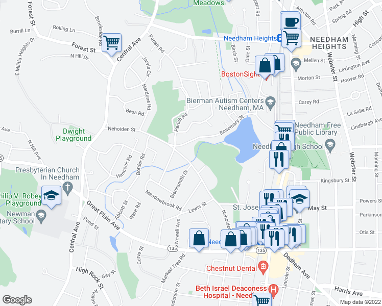map of restaurants, bars, coffee shops, grocery stores, and more near 170 Nehoiden Street in Needham