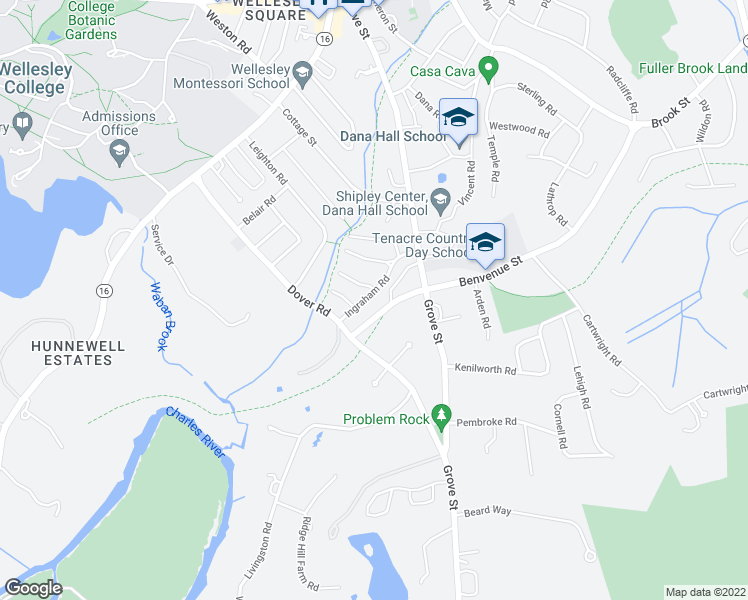 map of restaurants, bars, coffee shops, grocery stores, and more near 30 Ingraham Road in Wellesley