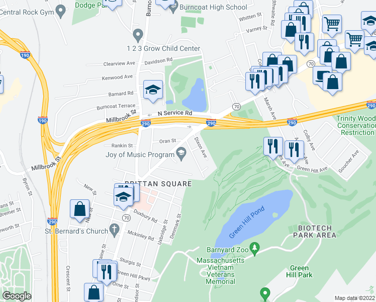 map of restaurants, bars, coffee shops, grocery stores, and more near 4 Wakefield St in Worcester