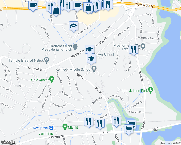 map of restaurants, bars, coffee shops, grocery stores, and more near 1 Jean Burke Drive in Natick