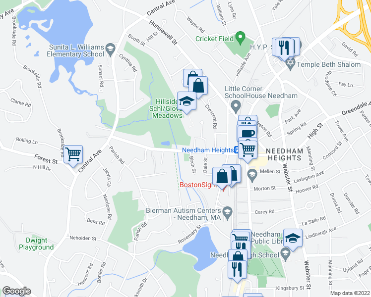 map of restaurants, bars, coffee shops, grocery stores, and more near 233 West Street in Needham
