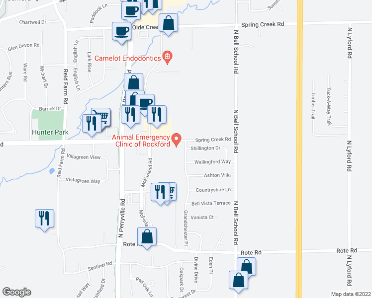 map of restaurants, bars, coffee shops, grocery stores, and more near 7128 Spring Creek Road in Rockford