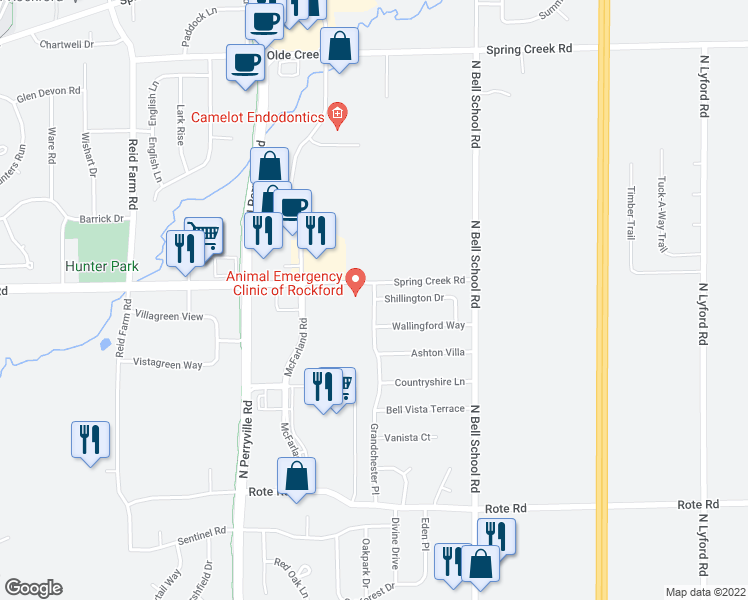 map of restaurants, bars, coffee shops, grocery stores, and more near 2214 Grandchester Pl in Rockford