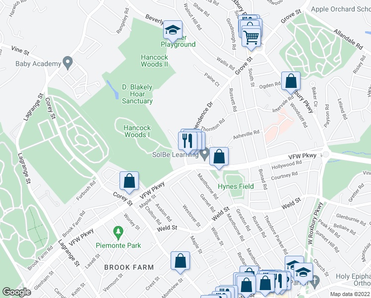 map of restaurants, bars, coffee shops, grocery stores, and more near Independence Drive in Boston