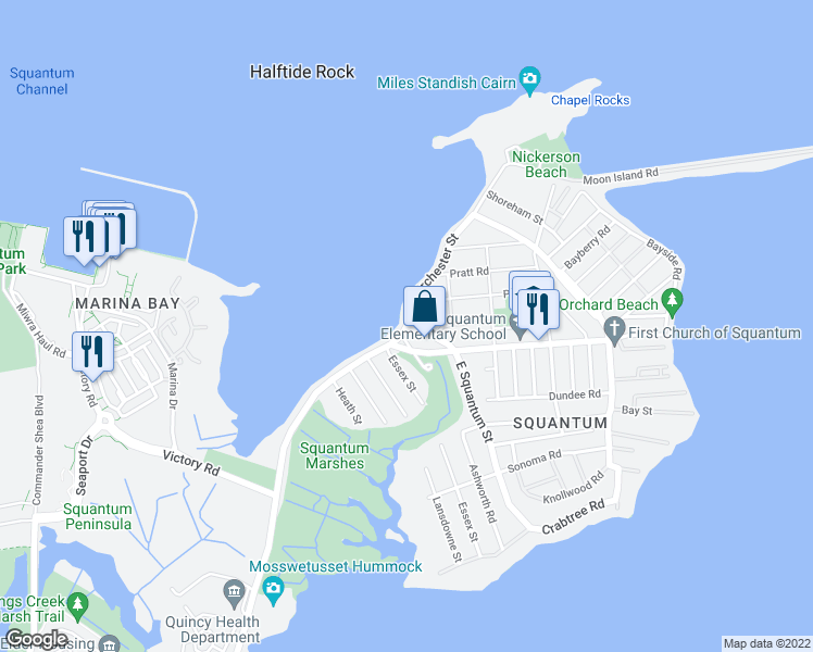 map of restaurants, bars, coffee shops, grocery stores, and more near E Squantum St & Dorchester St in Quincy