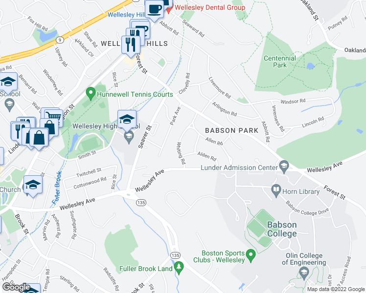 map of restaurants, bars, coffee shops, grocery stores, and more near 36 Whiting Rd in Wellesley