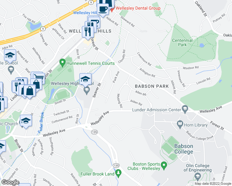 map of restaurants, bars, coffee shops, grocery stores, and more near 33 Whiting Road in Wellesley