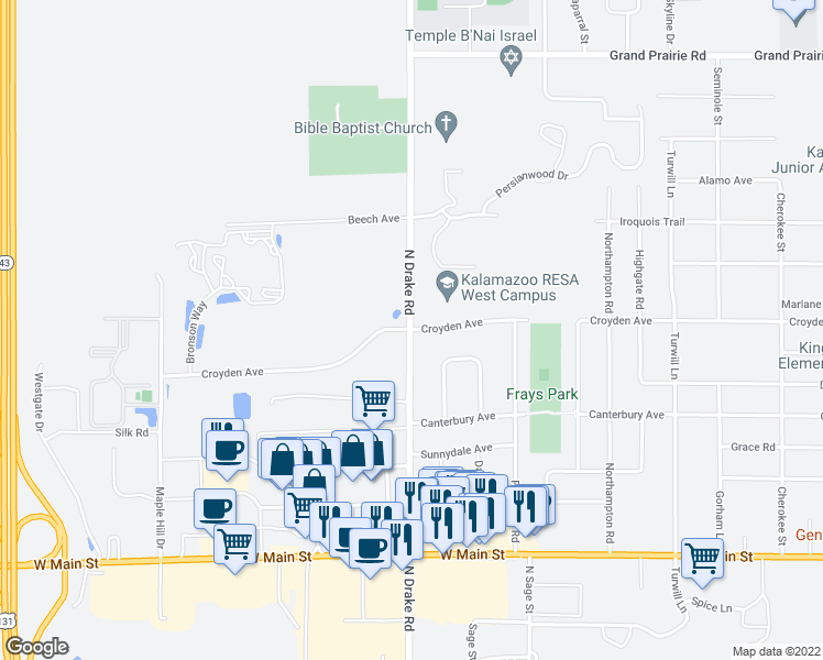 map of restaurants, bars, coffee shops, grocery stores, and more near 5200 Croyden Ave in Kalamazoo Township