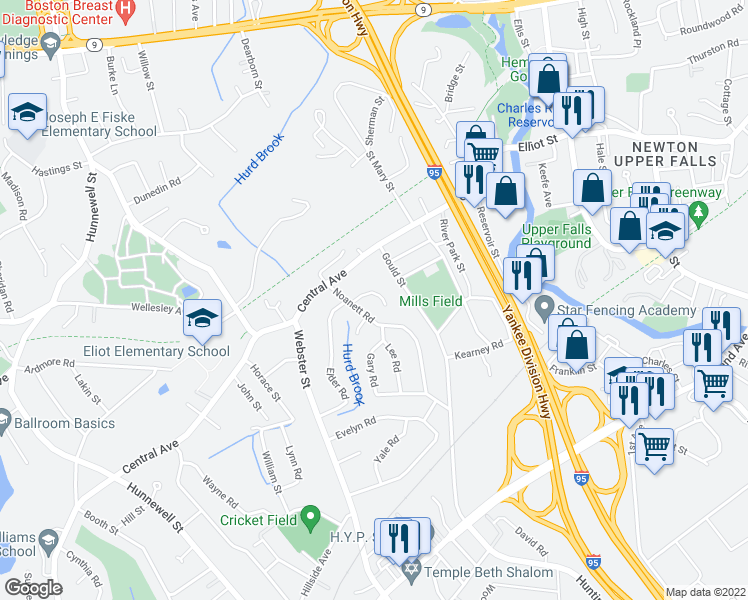 map of restaurants, bars, coffee shops, grocery stores, and more near 25 Hewitt Cir in Needham