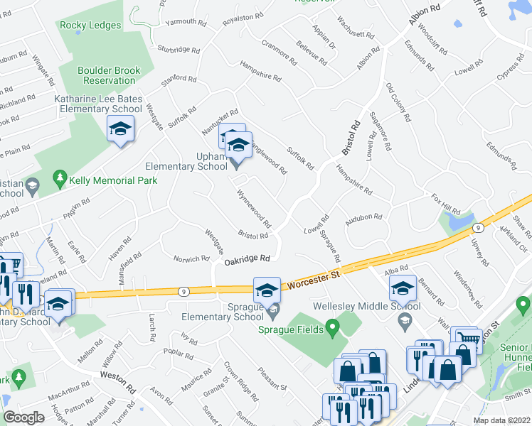 map of restaurants, bars, coffee shops, grocery stores, and more near 9 Wynnewood Road in Wellesley