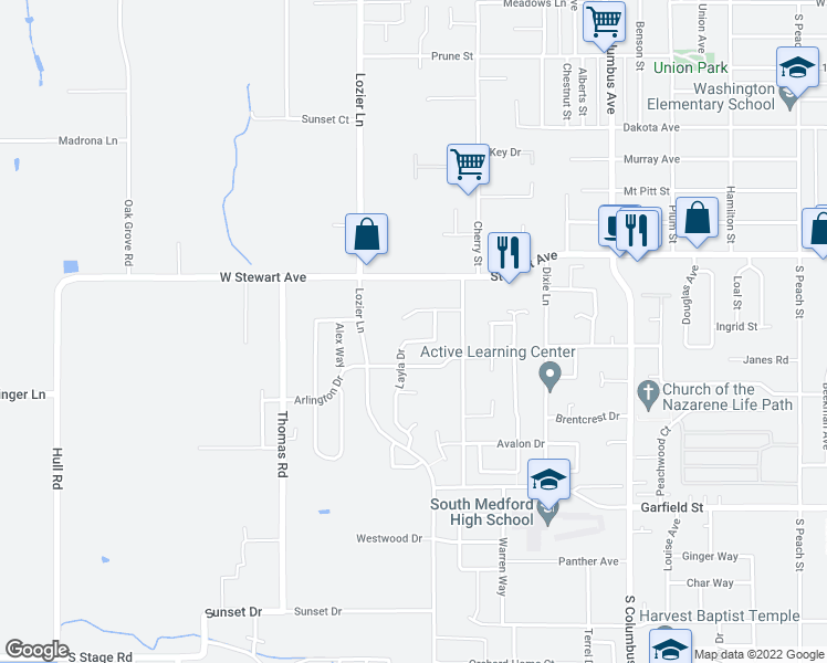 map of restaurants, bars, coffee shops, grocery stores, and more near 1836 Layla Dr in Medford