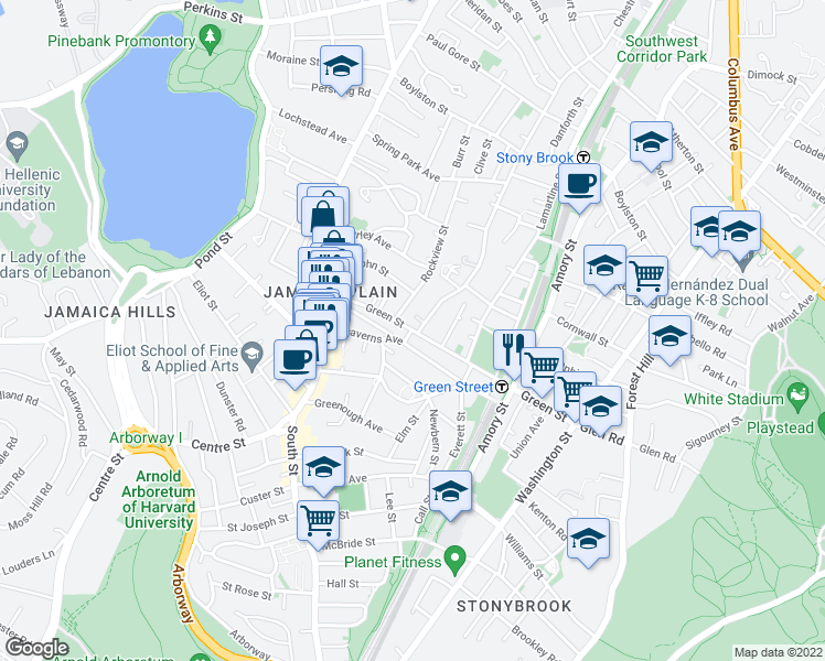 map of restaurants, bars, coffee shops, grocery stores, and more near Green St & Alfred St in Boston