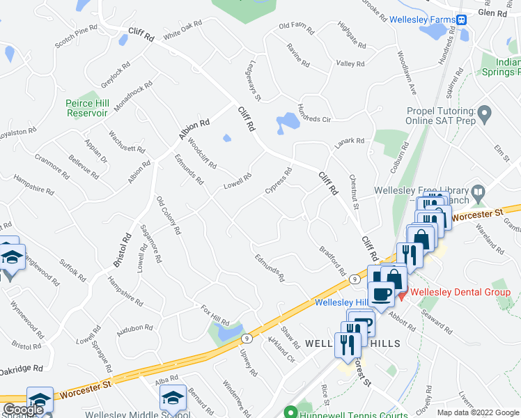 map of restaurants, bars, coffee shops, grocery stores, and more near 38 Cypress Road in Wellesley