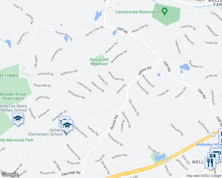 map of restaurants, bars, coffee shops, grocery stores, and more near 7 Appian Drive in Wellesley