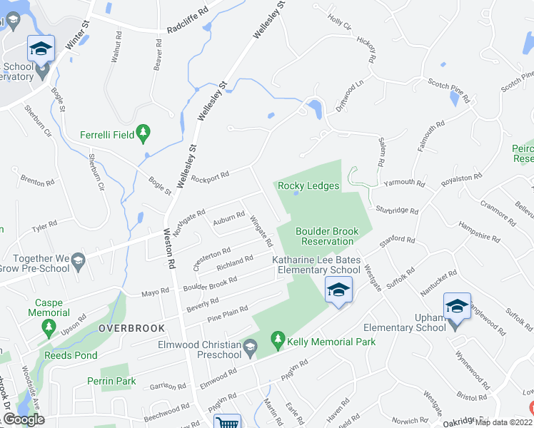 map of restaurants, bars, coffee shops, grocery stores, and more near 19 Meadowbrook Road in Wellesley