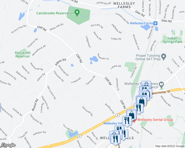 map of restaurants, bars, coffee shops, grocery stores, and more near 100 Cliff Road in Wellesley