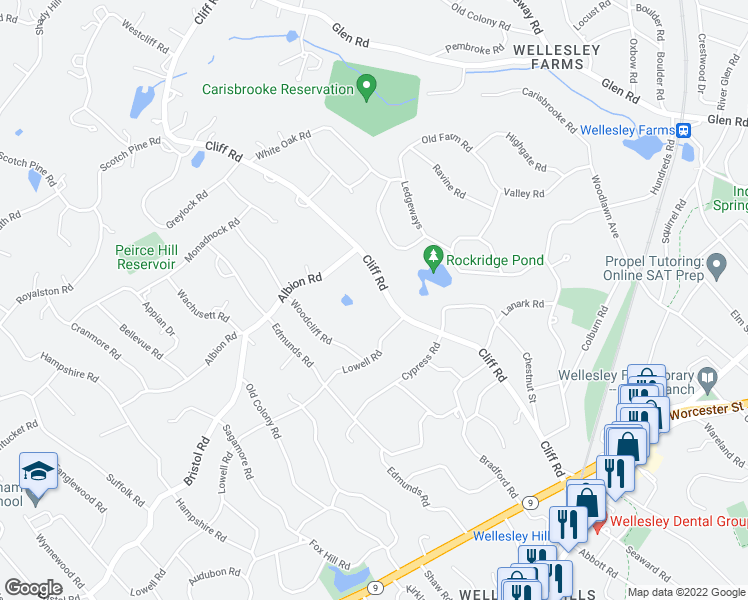 map of restaurants, bars, coffee shops, grocery stores, and more near 128 Cliff Rd in Wellesley