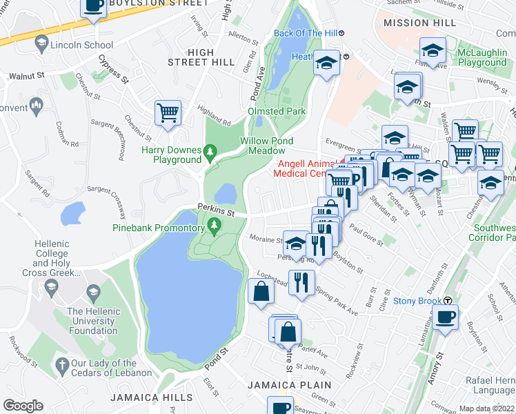 map of restaurants, bars, coffee shops, grocery stores, and more near 120 Perkins Street in Boston